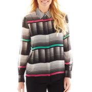 Liz Claiborne® Long-Sleeve Print Blouse