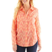 Liz Claiborne Long-Sleeve Button-Front Shirt - Talls