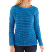 Liz Claiborne® Long-Sleeve Striped Crewneck Sweater