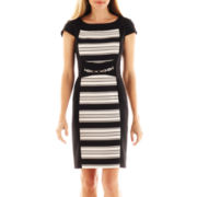 Danny and Nicole® Striped Inset Belted Dress
