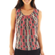 Black Label by Evan-Picone Pleat-Neck Print Top