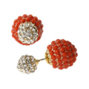 Bleu™ Orange Stone and Crystal Front-To-Back Earrings