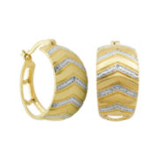 Diamond-Accent 18K Gold-Plated Brass Chevron-Design Hoop Earrings