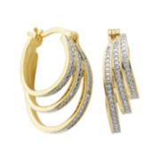 Classic Treasures™ Diamond-Accent 18K Gold Over Brass Triple-Strand Hoop Earrings