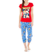 Wonder Woman Short-Sleeve Tee and Capri Pajama Set