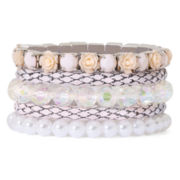 Decree® Simulated Pearl, Rosebud and Rhinestone 5-pc. Stretch Bracelet Set