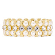 Monet® Simulated Pearl and Crystal Stretch Bracelet