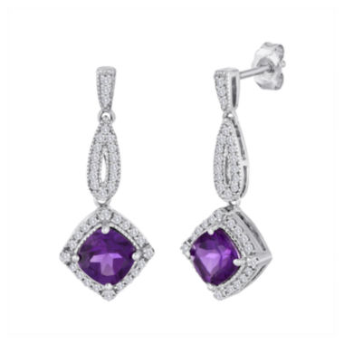 jcpenney.com | Genuine Amethyst and Lab-Created White Sapphire Sterling Silver Earrings