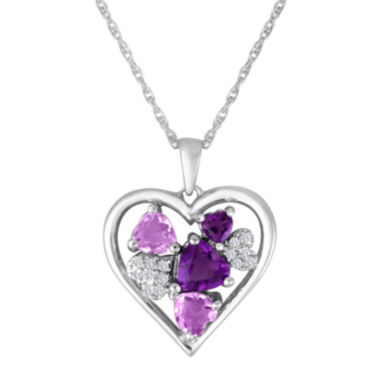 jcpenney.com | Lab-Created Amethyst & White Sapphire Sterling Silver Heart Pendant Necklace