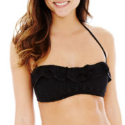 Bisou Bisou® Crochet Ruffled Bandeau Swim Top