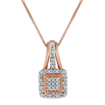 1/10 CT. T.W. Diamond 14K Rose Gold Over Sterling Silver Square Pendant Necklace