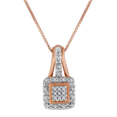 jcpenney.com | 1/10 CT. T.W. Diamond 14K Rose Gold Over Sterling Silver Square Pendant Necklace