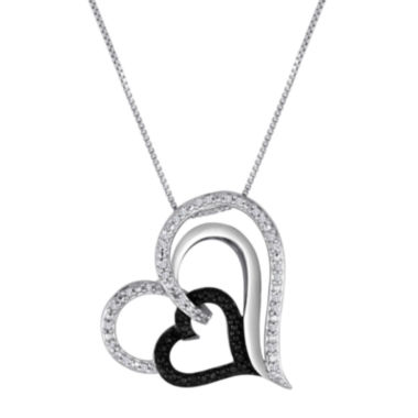 jcpenney.com | 1/10 CT. T.W. Diamond Sterling Silver Tilted Heart Pendant Necklace