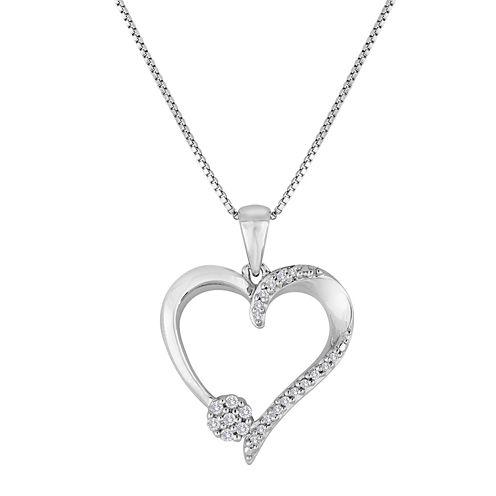 diamond blossom 1/10 CT. T.W. Diamond Sterling Silver Heart Pendant Necklace