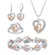 1/5 CT. T.W. Diamond Heart 4-pc. Boxed Jewelry Set