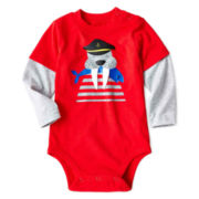 Okie Dokie® Long-Sleeve Graphic Knit Bodysuit - Boys newborn-9m