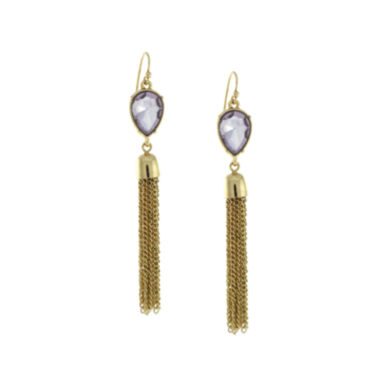 jcpenney.com | nicole by Nicole Miller® Purple Stone Tassel Drop Earrings