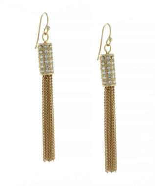 jcpenney.com | nicole by Nicole Miller® Gold-Tone Crystal Pavé Tassel Drop Earrings
