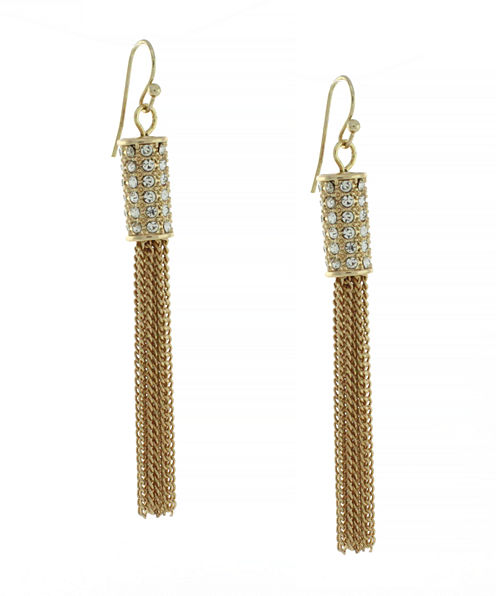 nicole by Nicole Miller® Gold-Tone Crystal Pavé Tassel Drop Earrings