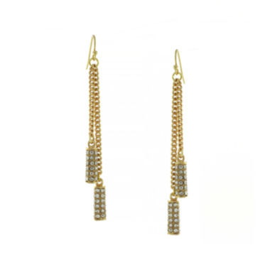 jcpenney.com | nicole by Nicole Miller® Gold-Tone Crystal Pavé Linear Earrings