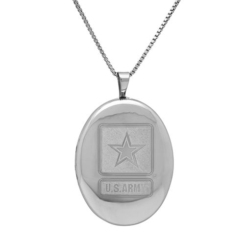 Sterling Silver US Army Emblem Locket Pendant Necklace