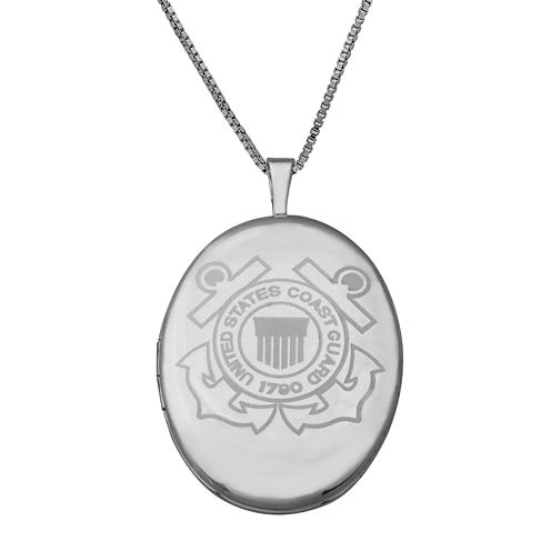Sterling Silver US Coast Guard Emblem Locket Pendant Necklace