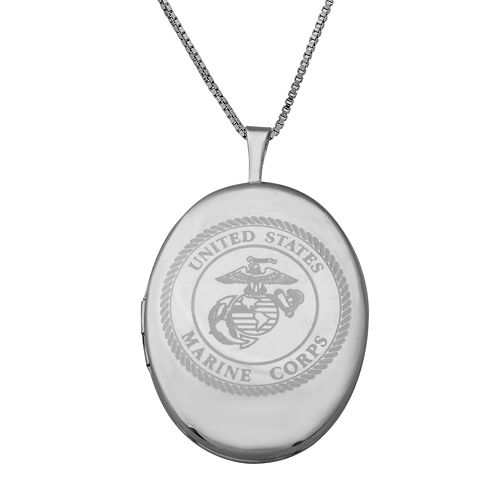Sterling Silver US Marine Corps Emblem Locket Pendant Necklace