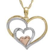 14K Yellow Gold Over Sterling Silver Diamond-Accent Triple Heart Pendant