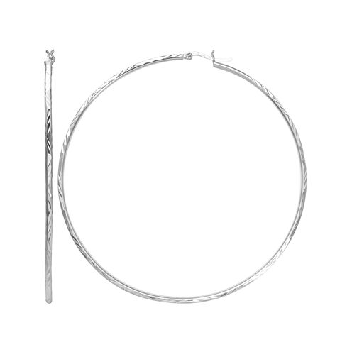 Sterling Silver Diamond-Cut 80mm Hoop Earrings