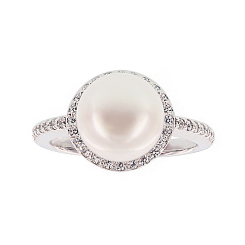 Diamonart® Cultured Freshwater Pearl and Cubic Zirconia Sterling Silver Ring