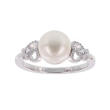 jcpenney.com | Diamonart® Cultured Freshwater Pearl and Cubic Zirconia Sterling Silver Heart Ring