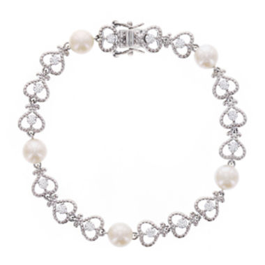 jcpenney.com | Diamonart® Cubic Zirconia and Cultured Freshwater Pearl Sterling Silver Bracelet