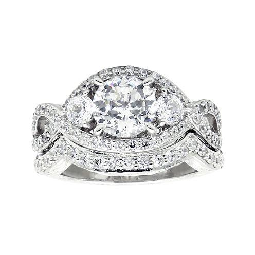 Diamonart® Cubic Zirconia Sterling Silver 3-Stone Bridal Ring Set