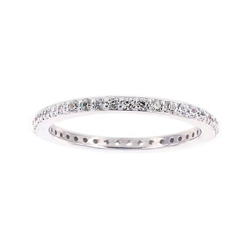 Diamonart® Round Cubic Zirconia Sterling Silver Eternity Band Ring