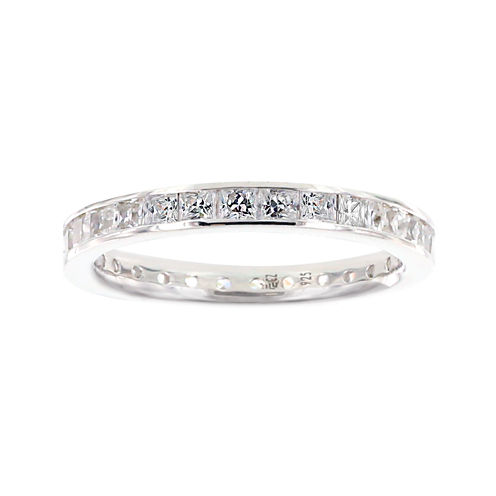 Diamonart® Princess Cubic Zirconia Sterling Silver Eternity Band Ring