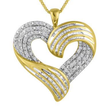 jcpenney.com | 3/4 CT. T.W. Diamond 14K Yellow Gold Heart Pendant Necklace
