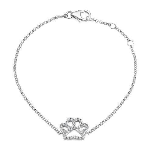 Crystal Sterling Silver Paw Print Adjustable Bracelet