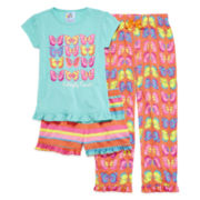 Stargate Butterfly Beauty Short-Sleeve 3-pc. Pajama Set - Preschool Girls 4-6x