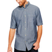 St. John's Bay® Short-Sleeve Print Chambray Sport Shirt