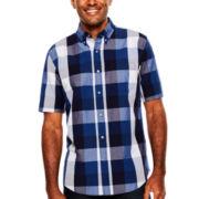 St. John's Bay® Short-Sleeve Indigo Poplin Sport Shirt