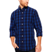 St. John's Bay® Long-Sleeve Indigo Poplin Sport Shirt