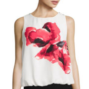 by&by Sleeveless Floral Bubble-Hem Top