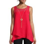 by&by Sleeveless Layered Ruffled Necklace Top