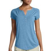 Liz Claiborne® Cap-Sleeve Henley Tee - Tall