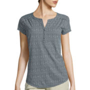 Liz Claiborne® Short-Sleeve V-Neck Henley T-Shirt