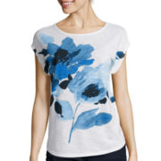 Liz Claiborne® Short-Sleeve Placed Print Boatneck Top - Tall