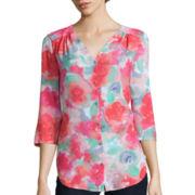 Liz Claiborne® 3/4-Sleeve Floral Blouse