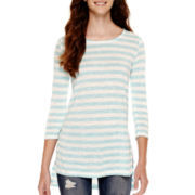 Arizona Long-Sleeve High-Low Striped Tunic