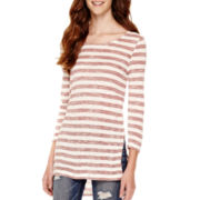 Arizona Long-Sleeve High-Low Striped Tunic - Juniors
