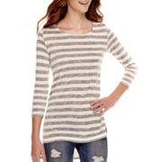 Arizona Long-Sleeve High-Low Striped Tunic